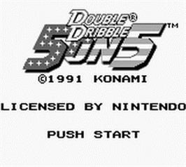 Title screen of Double Dribble: 5 on 5 on the Nintendo Game Boy.