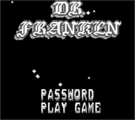 Title screen of Dr. Franken 2 on the Nintendo Game Boy.