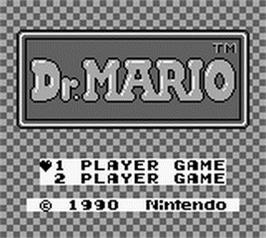 Title screen of Dr. Mario on the Nintendo Game Boy.