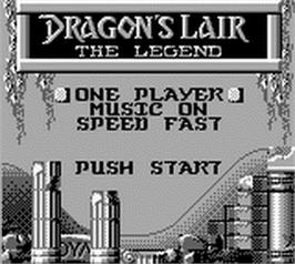 Title screen of Dragon's Lair - The Legend on the Nintendo Game Boy.