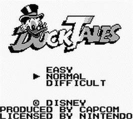 Title screen of Duck Tales on the Nintendo Game Boy.