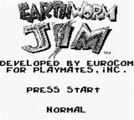 Title screen of Earthworm Jim on the Nintendo Game Boy.