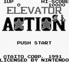 Title screen of Elevator Action on the Nintendo Game Boy.