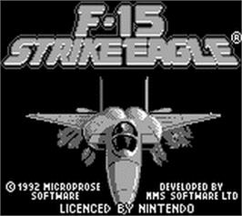 Title screen of F-15 Strike Eagle on the Nintendo Game Boy.