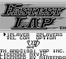 Title screen of Fastest Lap on the Nintendo Game Boy.