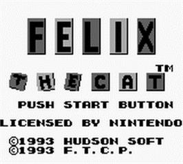 Title screen of Felix the Cat on the Nintendo Game Boy.