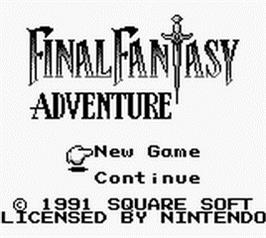 Title screen of Final Fantasy Adventure on the Nintendo Game Boy.