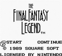 Title screen of Final Fantasy Legend on the Nintendo Game Boy.