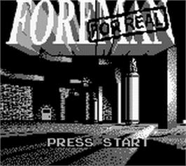 Title screen of Foreman for Real on the Nintendo Game Boy.