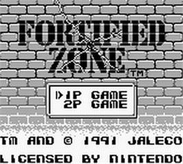 Title screen of Fortified Zone on the Nintendo Game Boy.