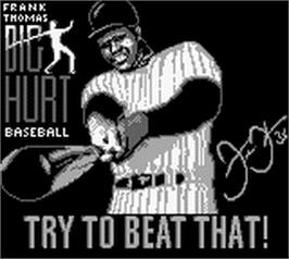 Title screen of Frank Thomas' Big Hurt Baseball on the Nintendo Game Boy.