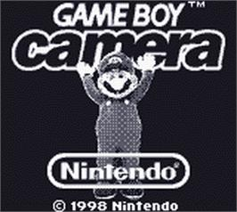 Title screen of Game Boy Camera Games on the Nintendo Game Boy.