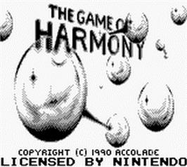 Title screen of Game of Harmony on the Nintendo Game Boy.