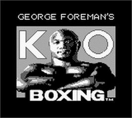 Title screen of George Foreman's KO Boxing on the Nintendo Game Boy.