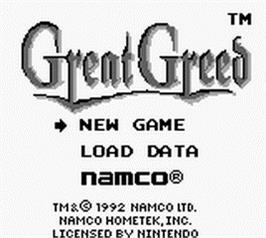 Title screen of Great Greed on the Nintendo Game Boy.