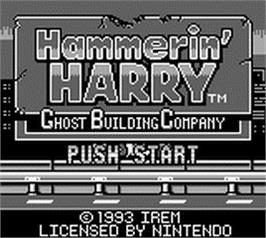 Title screen of Hammerin' Harry: Ghost Building Company on the Nintendo Game Boy.