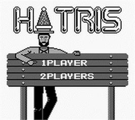 Title screen of Hatris on the Nintendo Game Boy.