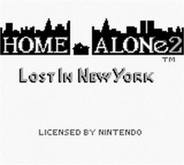 Title screen of Home Alone 2: Lost in New York on the Nintendo Game Boy.
