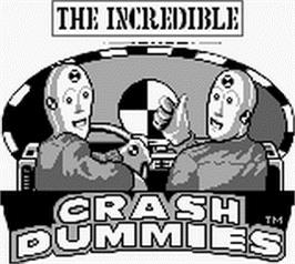 Title screen of Incredible Crash Dummies on the Nintendo Game Boy.