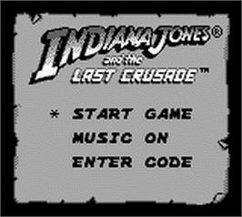 Title screen of Indiana Jones and the Last Crusade: The Action Game on the Nintendo Game Boy.