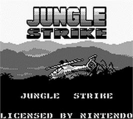 Title screen of Jungle Strike on the Nintendo Game Boy.
