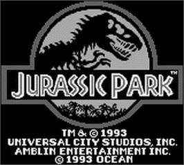Title screen of Jurassic Park on the Nintendo Game Boy.