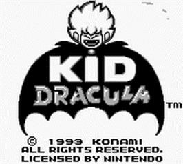 Title screen of Kid Dracula on the Nintendo Game Boy.
