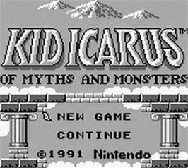 Title screen of Kid Icarus: Of Myths and Monsters on the Nintendo Game Boy.
