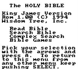 Title screen of King James Bible For Use On Game Boy on the Nintendo Game Boy.