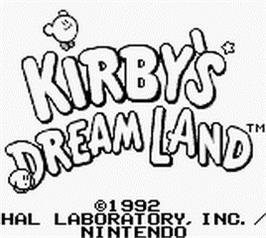 Title screen of Kirby's Dream Land on the Nintendo Game Boy.
