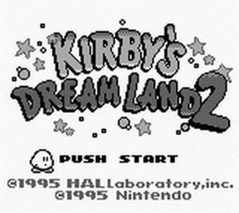 Title screen of Kirby's Dream Land 2 on the Nintendo Game Boy.