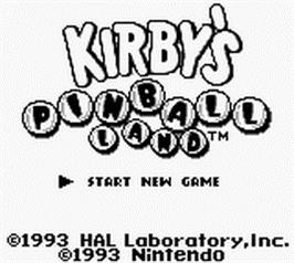 Title screen of Kirby's Pinball Land on the Nintendo Game Boy.