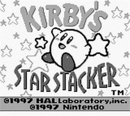 Title screen of Kirby's Star Stacker on the Nintendo Game Boy.