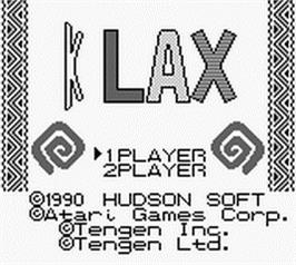 Title screen of Klax on the Nintendo Game Boy.