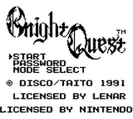 Title screen of Knight Quest on the Nintendo Game Boy.
