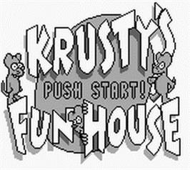 Title screen of Krusty's Fun House on the Nintendo Game Boy.