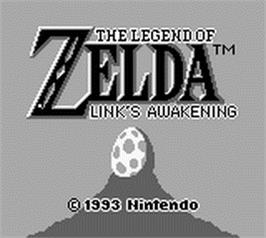 Title screen of Legend of Zelda: Link's Awakening on the Nintendo Game Boy.