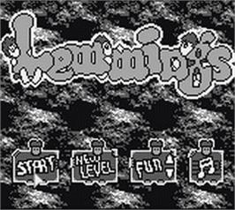 Title screen of Lemmings on the Nintendo Game Boy.