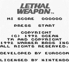 Title screen of Lethal Weapon on the Nintendo Game Boy.