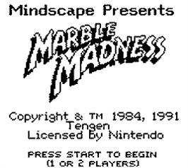 Title screen of Marble Madness on the Nintendo Game Boy.