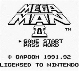 Title screen of Mega Man 2 on the Nintendo Game Boy.