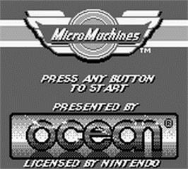 Title screen of Micro Machines on the Nintendo Game Boy.