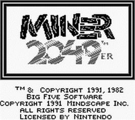 Title screen of Miner 2049er on the Nintendo Game Boy.