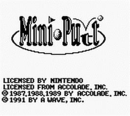 Title screen of Mini-Putt on the Nintendo Game Boy.