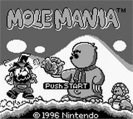 Title screen of Mole Mania on the Nintendo Game Boy.