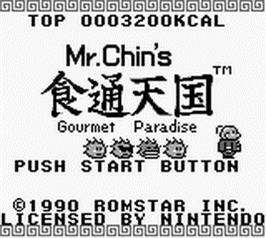 Title screen of Mr. Chin's Gourmet Paradise on the Nintendo Game Boy.
