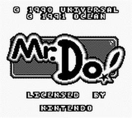 Title screen of Mr. Do! on the Nintendo Game Boy.