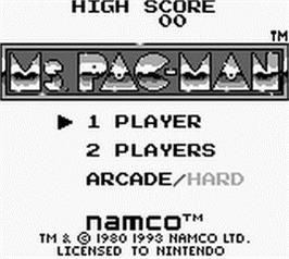 Title screen of Ms. Pac-Man on the Nintendo Game Boy.