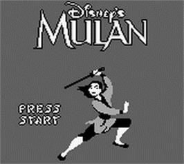 Title screen of Mulan on the Nintendo Game Boy.