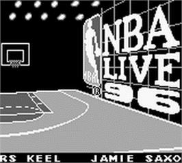 Title screen of NBA Live '96 on the Nintendo Game Boy.